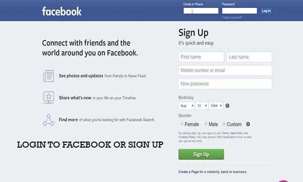 Login to Facebook Or Sign Up