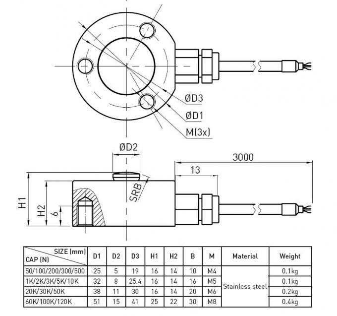 High Precision Strain Gauge Load Cell Compression Type For