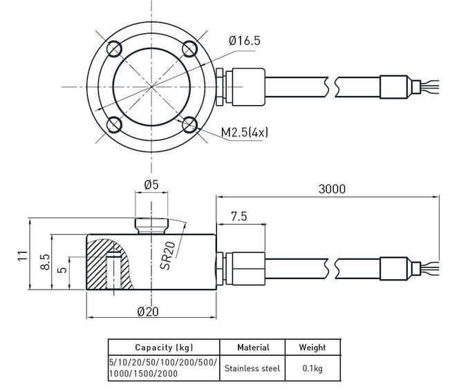 Small Tank Weighing Compression Load Cell Strain Gauge