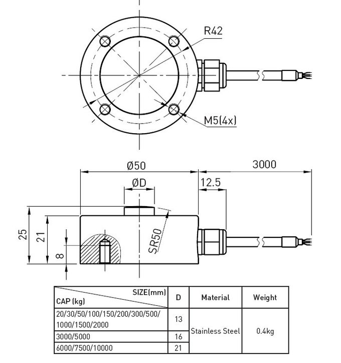 Low Profile Compact 20kg Testing Strain Gauge Load Cell