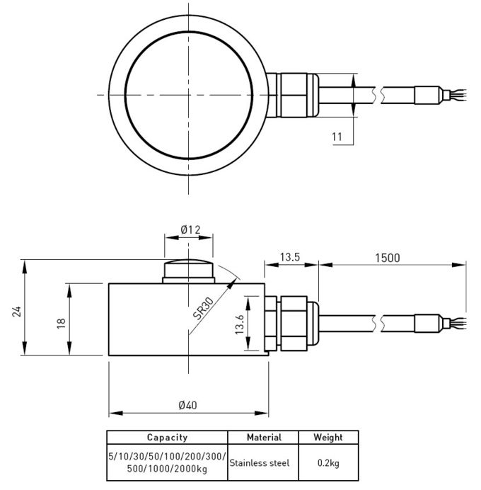 Low Profile Stainless Steel Load Cell 5kg 20kg For