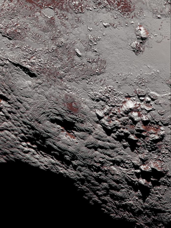 Criovulcão em Plutão (Foto: NASA) nasa Sonda da NASA registra fotos de um possível criovulcão em Plutão colorized wright mons cropped 767x1024