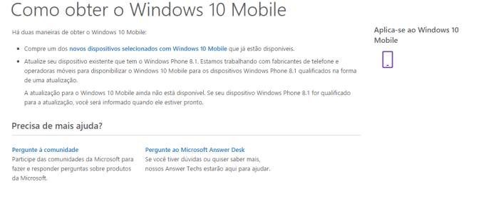 Microsoft deixa claro que a atualização para o Windows 10 Mobile não está disponível