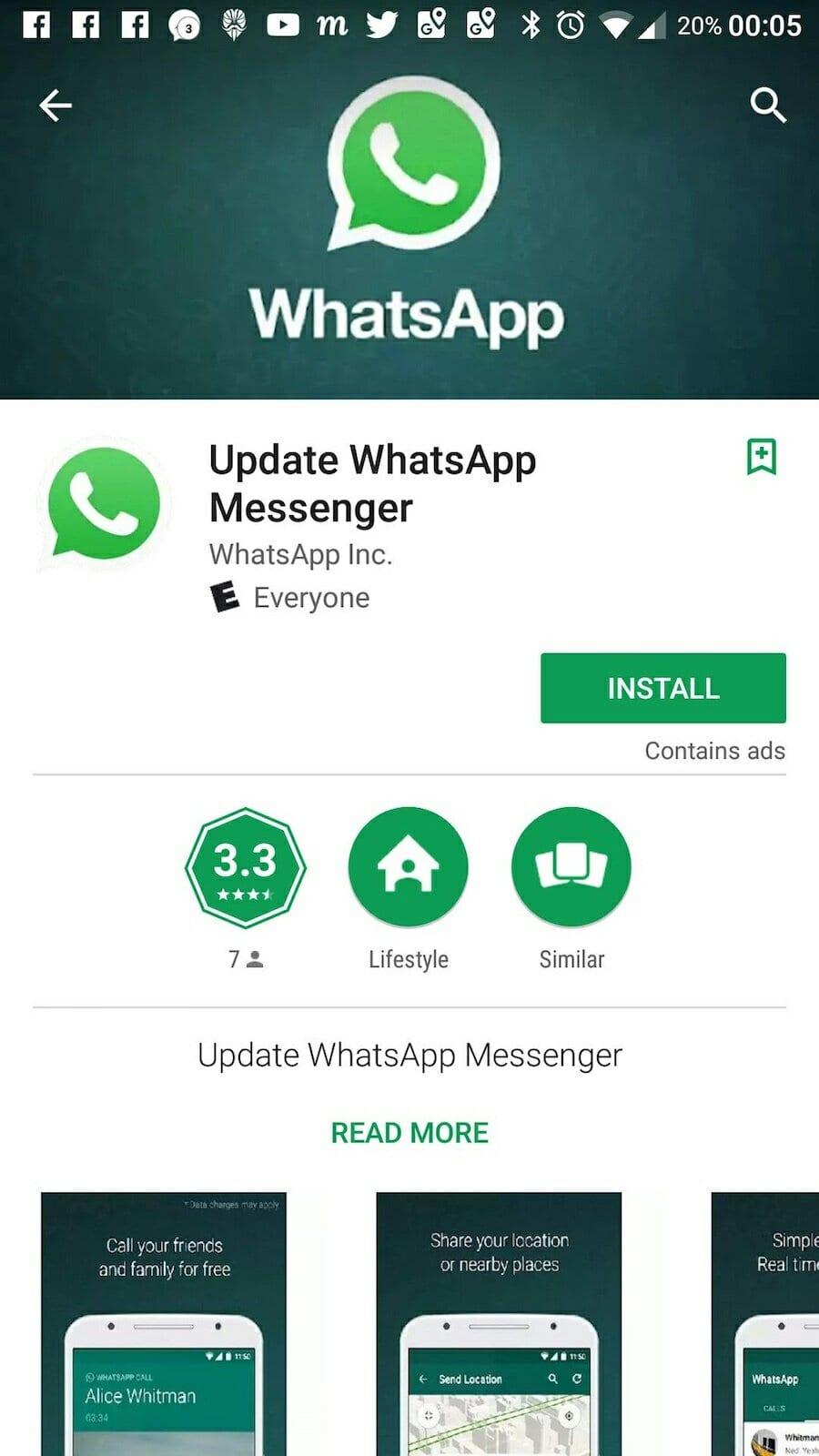 whatsapp falso foi baixado mais de 1 milhão de vezes na play store