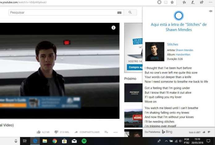Microsoft Edge microsoft edge Com Cortana, Microsoft Edge agora exibe letra de músicas em vídeos do Youtube edge lycris2