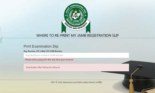 Where to Re-print my Jamb Registration Slip