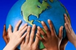 English: Hands Holding The World
