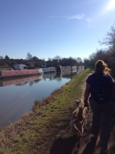 Ma and Teddy walking along the muddy towpath. Photo is taken from behind, wht the canal on the left and clear blue sky above