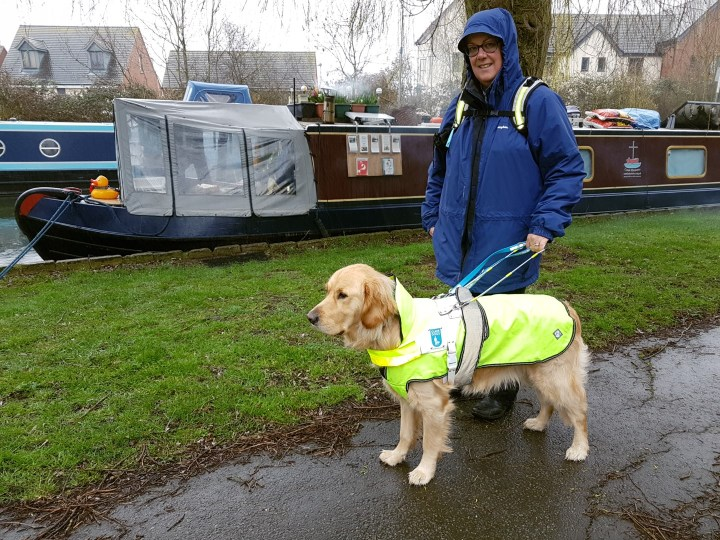 Ma wearing blue waterproof coat with hood up and Teddy wearing hi-viz yellow waterproof dog coat under his white Guide Dog harness. Both standing on path beside burgundy narrowboat