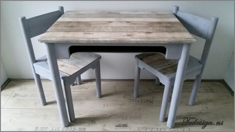 KindermeubelSet Tafel en stoeltjes Grey wash149 Gratis
