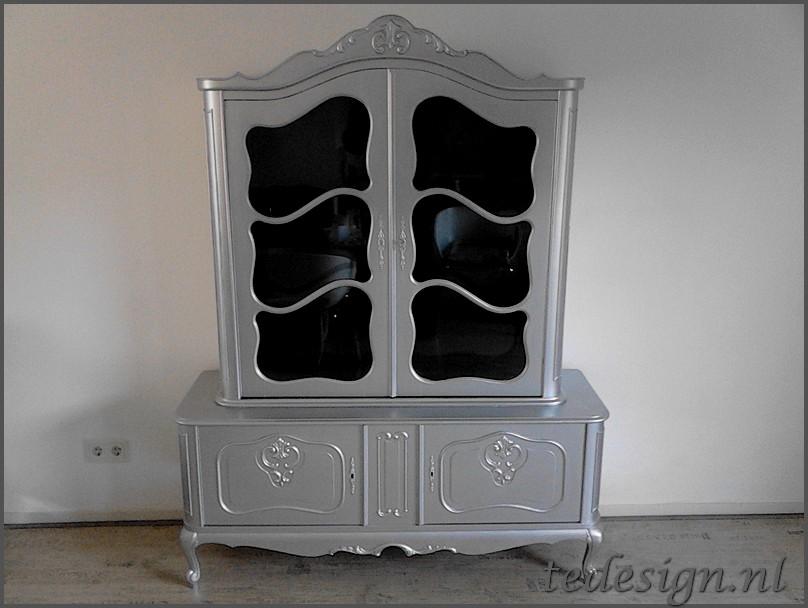Barok vitrinekast zilver Te design Gratis bezorgd in NL