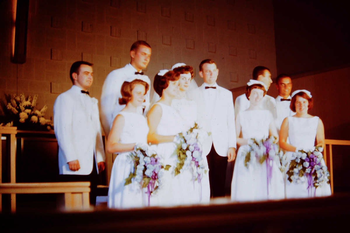 Groomsmen: Skip Wells, Jim Dunn, don't know, Dick Baker. Bridesmaids: Susie Matilo, Mary Lou, don't know, Susie Goudie.