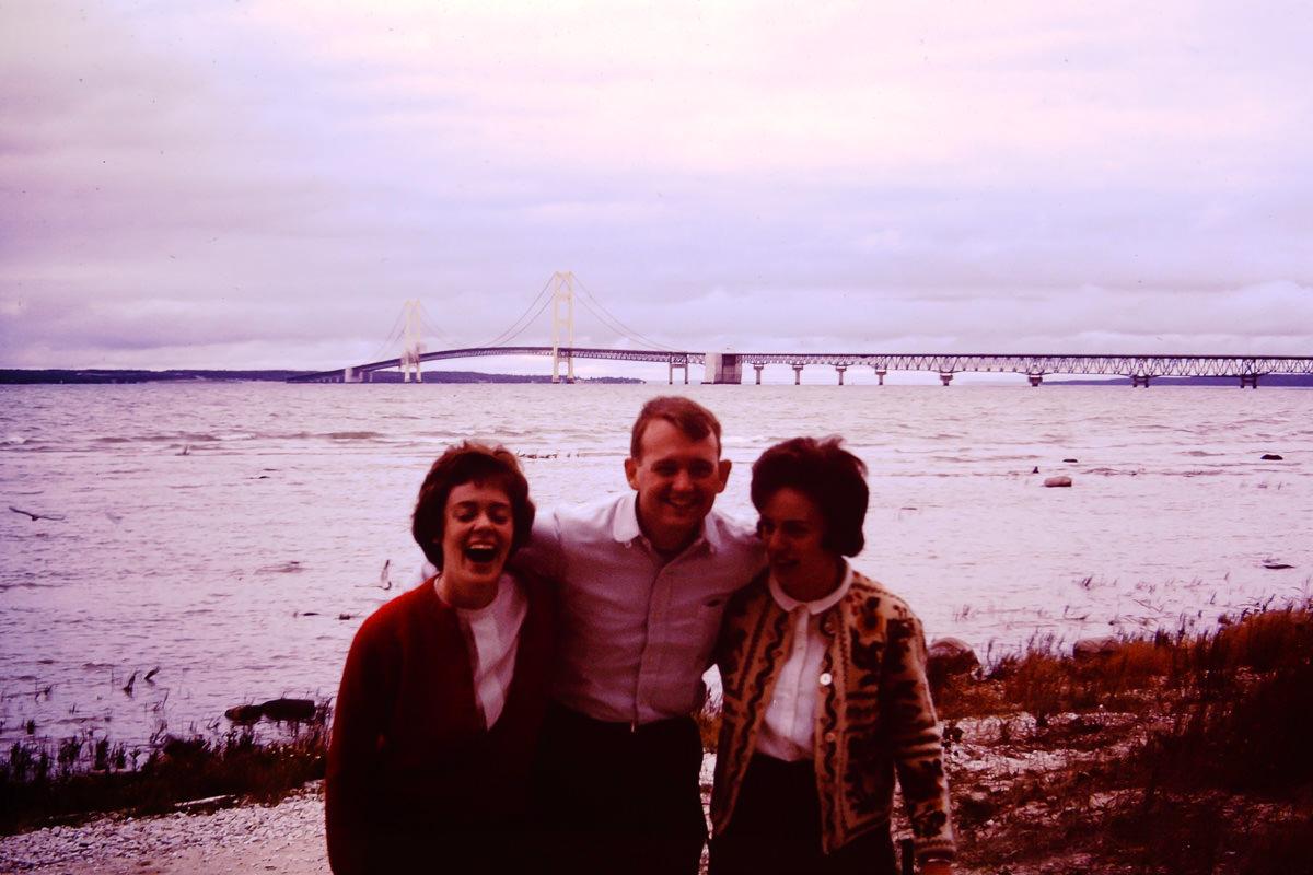 1965: Joan Reichenbach (I think?), Bill, Jan at the Mackinaw cottage