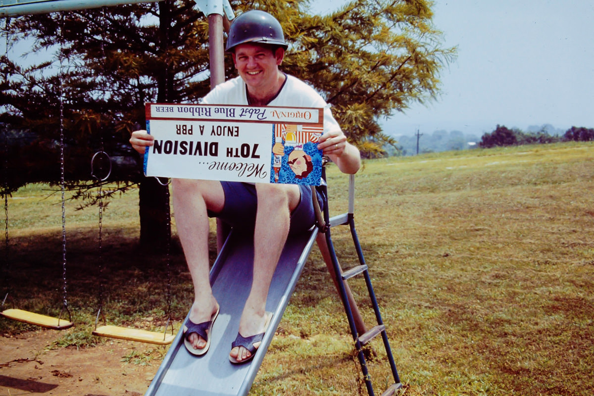 Army 1971: Bill, practicing a slide escape, but from what?