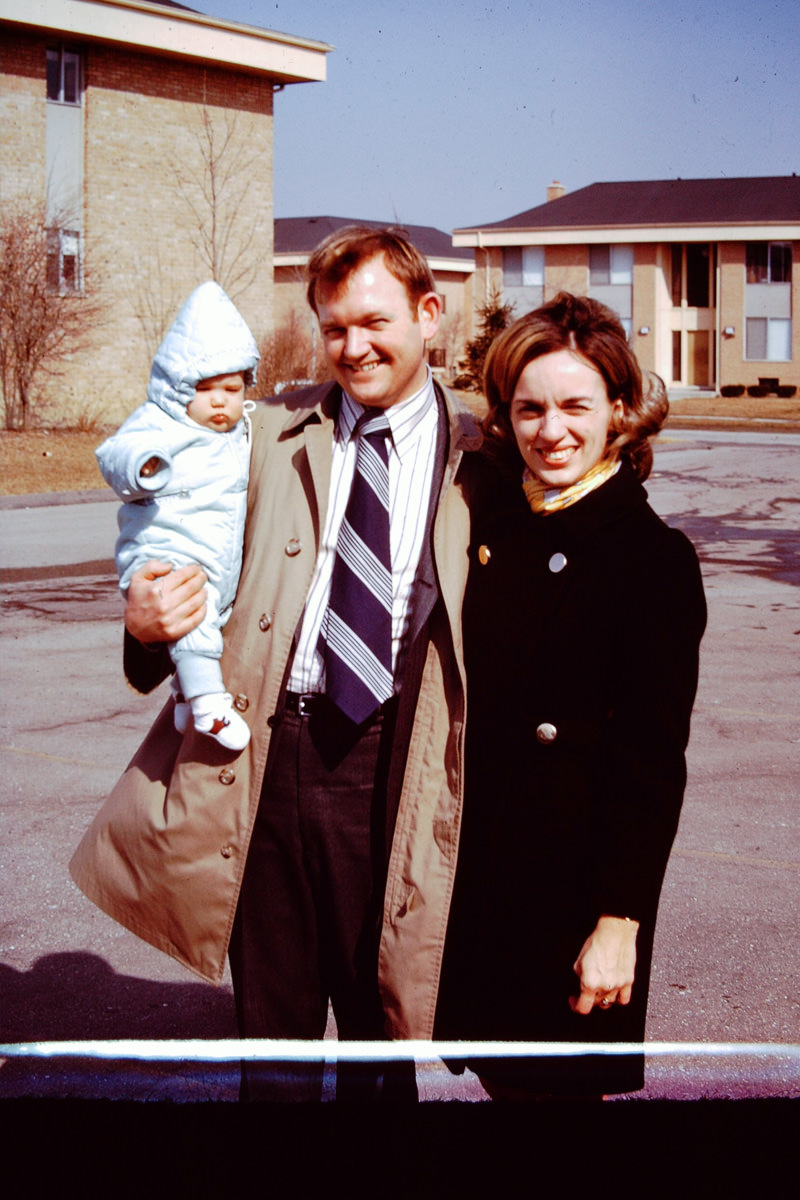 March 1970: Doug's Baptism; Doug, Bill, Jan