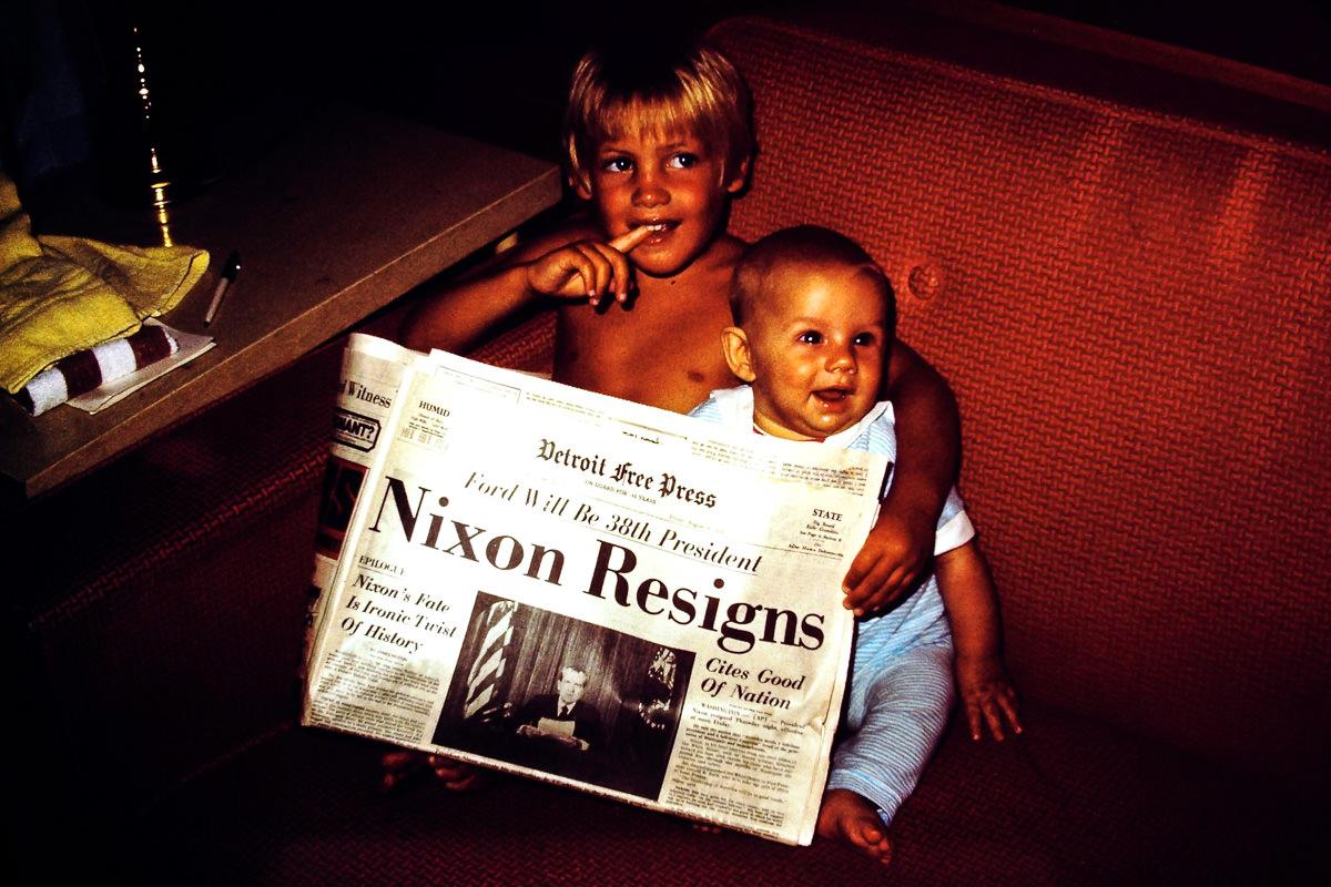 Walloon Lake 1974: Doug, me, Richard Nixon resigns