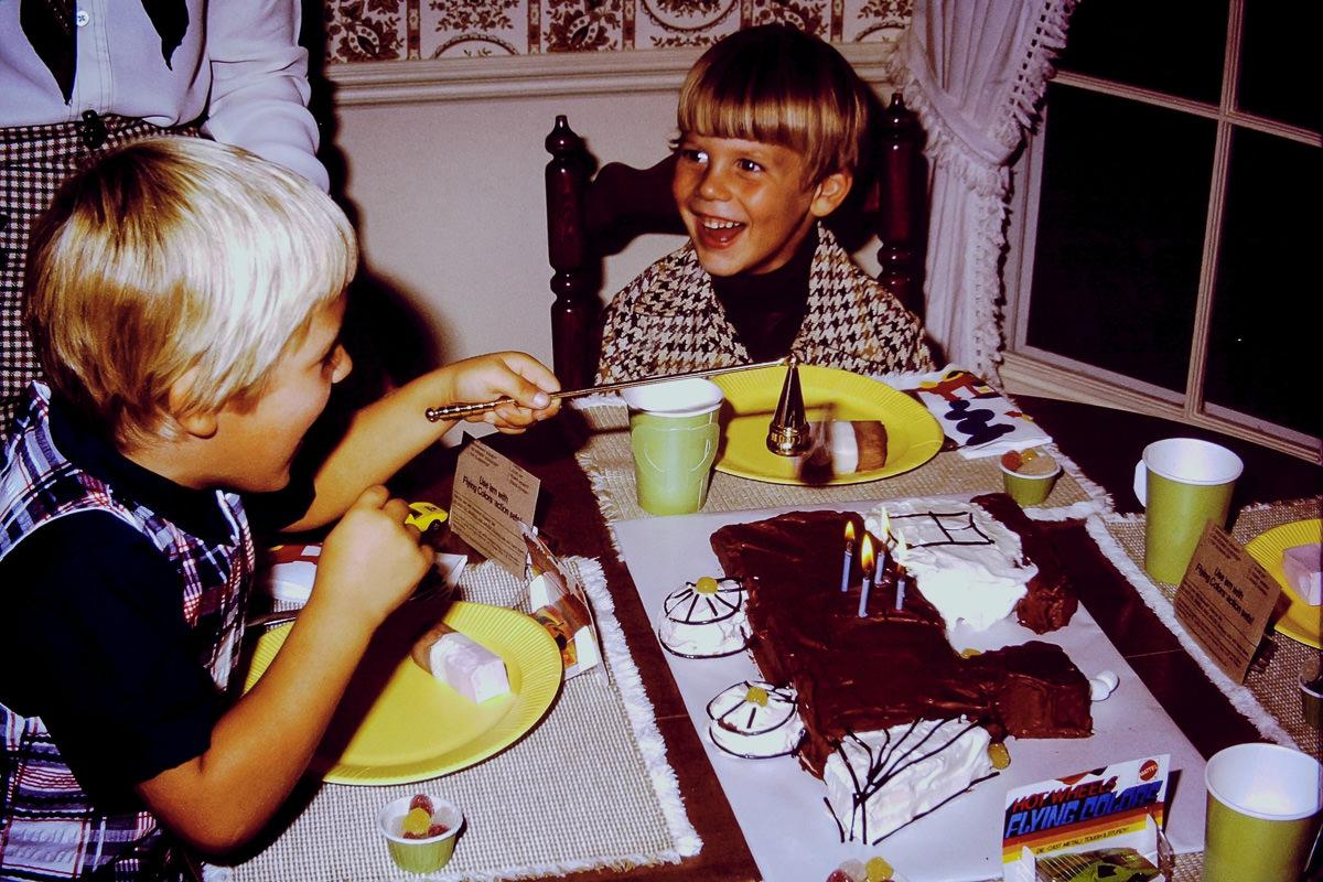 Sept. 1974: Doug, train cake