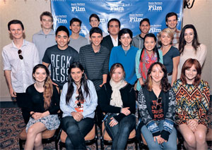 Finalists in the Santa Barbara Film Festival's 10-10-10 competition, in which young filmmakers are teamed with young screenwriters to produce a 10-minute film by the end of the festival, gather at Tuesday's press conference.