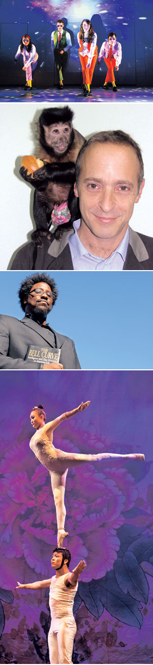 """FROM TOP: """"Schoolhouse Rock Live!"""" comes to UCSB's Campbell Hall on Oct. 12 - Tim Trumble photo David Sedaris, may 4 - UCSB Arts & Lectures W. Kamau Bell, Feb.5 - UCSB Arts & Lectures Cirque Ziva, Jan. 24 - Amitava Sarkar photo"""