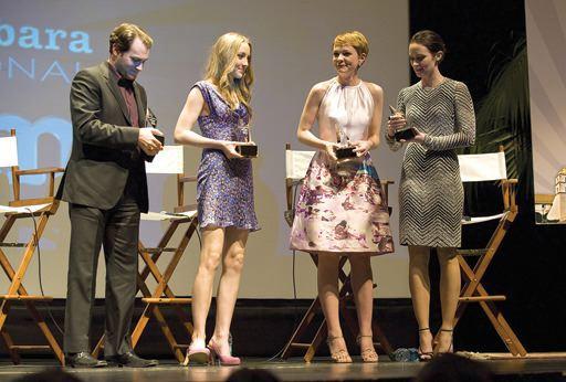 From left, Michael Stuhlbarg, Saiorse Ronan, Carey Mulligan and Emily Blunt recieve the Virtuoso Award on Sunday. ROBBY BARTHELMESS / NEWS-PRESS