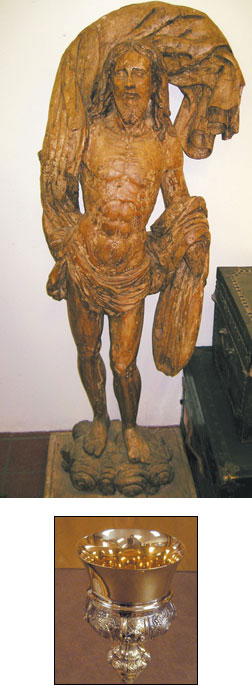 "This Risen Christ statue is made of wood, but is now devoid of gesso and polychrome (traces evident). Probable date is late 1600s. Recent research indicates an origin in a Jesuit mission or a ""Reduccion"" in Paraguay."
