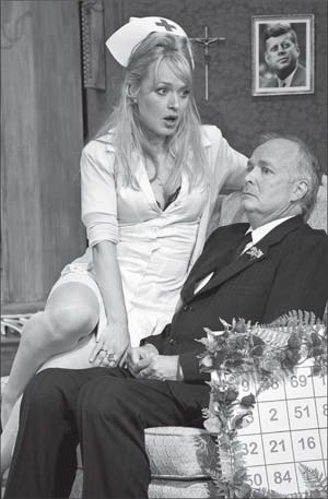 From left, Heather Prete as Nurse Fay and David McCann as Mr. McLeavy.