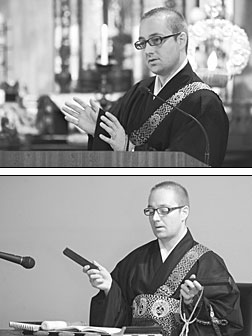 At top, as part of the Oct. 23 service, the Rev. Adams pays tribute to Eshinni and Kakushinni, the wife and daughter, respectively, of Shinran, the founder of Jodo Shinshu. Above, he uses settaku, or wooden blocks, to lead the sutra chanting.