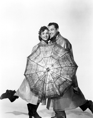 """Debbie Reynolds and Gene Kelly in """"Singin' in the Rain"""" UCSB Arts & Lectures photo"""