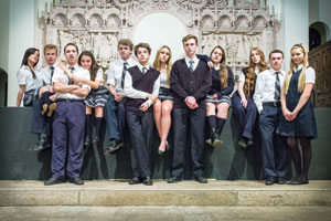 """The cast of """"Bare: A Rock Opera"""" as students of St. Cecilia's"""