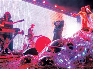 """The Flaming Lips played songs from their latest album """"The Terror"""" at the season-closing concert at the Santa Barbara Bowl. NIK BLASKOVICH/NEWS-PRESS"""