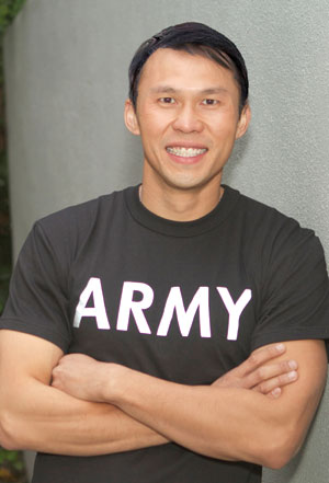 Former Staff Sergeant Thorn Tran is the executive producer and lead comic of The GIs ofComedy. Brett Saariphot