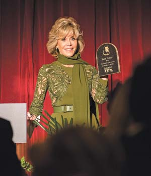 Jane Fonda received the Kirk Douglas Award from the Santa Barbara International Film Festival on Saturday at the Bacara Resort & Spa. KENNETH SONG/NEWS-PRESS PHOTO