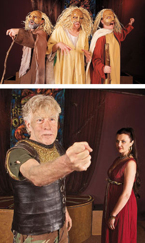 The Chorus includes, from left, Chad Parker, George Miller and Jennifer Brown. They are performing a comedic slapstick routine in fear of reprisal as they hear Agamemnon being murdered King Agamemnon (Ronald Rezac) triumphantly addresses the Greeks on his return from the Trojan war while Queen Clytemnestra (Natasha Zavala) plots her revenge for his sacrifice oftheir daughter ten years before Dean Zatkowsky photos