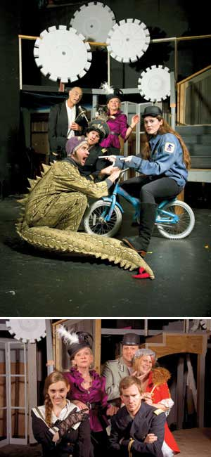 FROM TOP : Front, from left, velociraptor Danny McMillan and postal worker Brittany Danyel; center, with hat, David Stewart and in back, from left, Thom Thomas and Laura Ring. Getting ready for the next disaster in grand style are the Antrobus family, representing the human race. They are, back row from left, Maggie and George (Laura Ring and Ron Feltner), their intractable maid Sabina (Zuska Sabata) and, front, willful daughter Gladys (Julia Wilson) and son Henry (David Stewart) who hates his father. MaryM Long photos