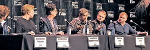 "Discussing screenwriting in a Santa Barbara International Film Festival panel were, from left, moderator Anne Thompson; Stephen Chbosky, ""The Perks of Being a Wallflower""; Roman Coppola, ""Moonrise Kingdom""; John Gatins, ""Flight""; Rian Johnson, ""Looper""; and David Magee, ""Life of Pi."" MIKE ELIASON/NEWS-PRESS"