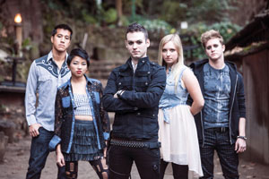 From left, MikeChen as bandleader,Terry Li as Naomi, Steven Stone as AndrewJackson, Maggie Hill asToula and Connor Gould as male soloist. Out of the Box Theatre photo