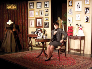 """JamesBlairphoto Susan Claassen as Edith Head in the Center State Theater production of """"A Conversation with Edith Head"""" James Blair photo"""