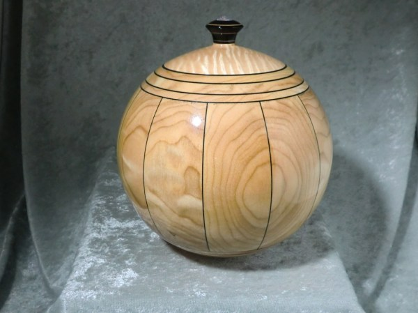 """ Orb"" - Quilted Maple And Dyed Veneer Stave Bowl"