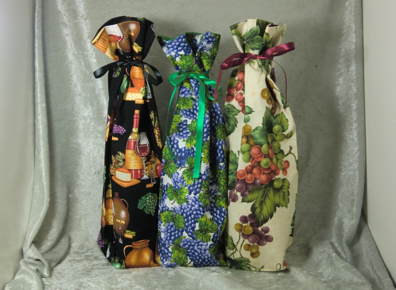 Fabric Wine Bottle Gift Bags  Vineyard Theme  Teds
