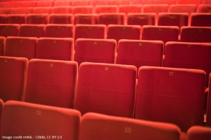 Rows of red cinema seats