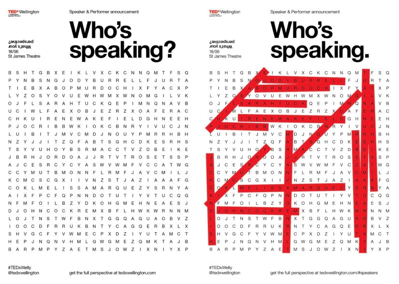 TEDxWellington Speaker : Performers Announcements WordSearch Both