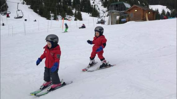 Colin and Addison skiing at Cypress Mountain.