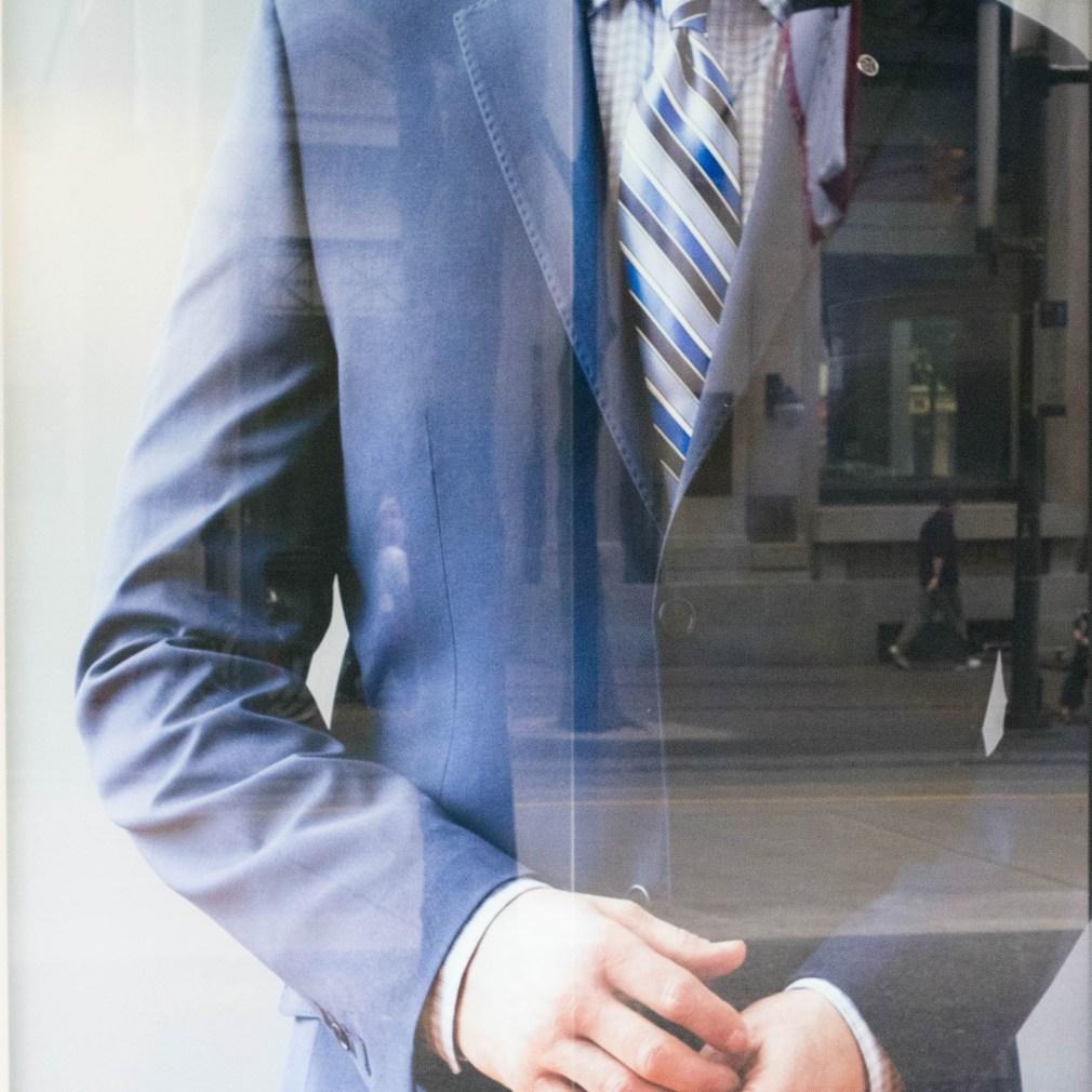 reflection, street photography, suit, window, Vancouver, fujifilm