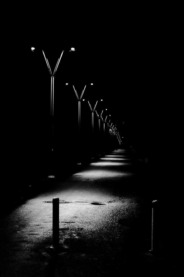 street lights, path, park, Burnaby, Central Park, noir, night