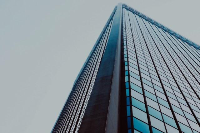office building, skyscraper, downtown, windows, street view
