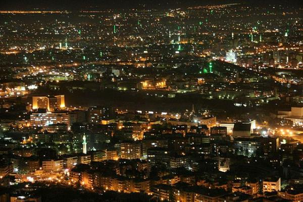 Damascus by night, via Wikimedia under Creative Commons