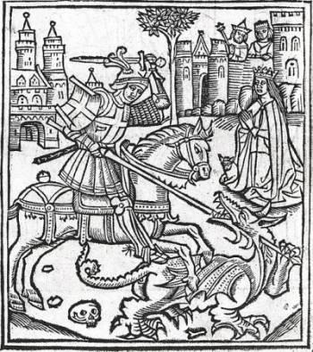Woodcut of St. George slaying the dragon, Alexander Barclay, 1515 [Public Domain], via Wikipedia