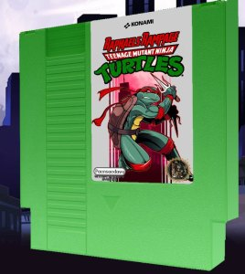 Raphael's Rampage, one of four new TMNT NES games released by Pacnsacdave. Source: Etsy.