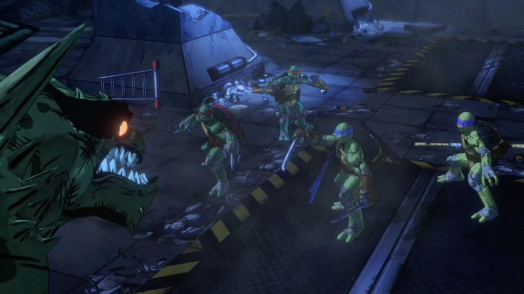 The Teenage Mutant Ninja Turtles take on Slash in Mutants in Manhattan. Source: Activision, Platinum Games