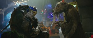 Left to right: Leonardo and Splinter in Teenage Mutant Ninja Turtles: Out of the Shadows from Paramount Pictures, Nickelodeon Movies and Platinum Dunes